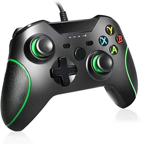 ZLZ Encargarse de Controlador con Cable, Wired Xbox One Controller Gamepads Joysticks para Xbox One/Xbox One X/Xbox One S / PS3 y PC (Negro) Flexible (Color : Default)