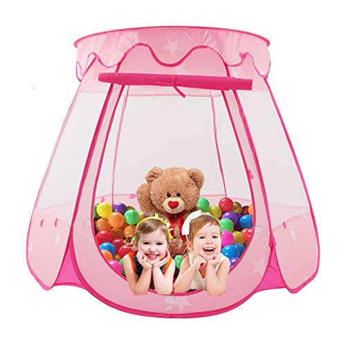 Achort Princess Castle Play Tent Kids Pink Play House Foldable Popup Balls House Children Indoor Outdoor Playhouse for with Storage Bag for Baby Toddler Girls 49.2in * 33.5in