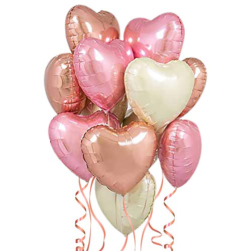 Rose Gold Heart Balloons - Pack of 12 - Foil Heart Shaped Balloons | 18 Inch, Blush Pink, White and Rose Gold Heart Balloon | Valentine Balloons for Birthday Party Supples | Balloon Arch Rose Gold Kit