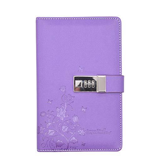 JunShop Lock Diary Combination Locking Journal Writing Notebook A5 Planner Agenda Personal Notepad Purple