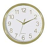 Foxtop goldene Wanduhr, 28 cm leise, Nicht tickende, batteriebetriebene Quarz Wanduhr für die Home-Office-Schule im Wohnzimmer, Schlafzimmer, Schlafzimmerzimmer, Schlafzimmer, Küche, Büro