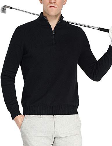 Homme Golf Pulls 1/4 Zip Coton Manche Longue...