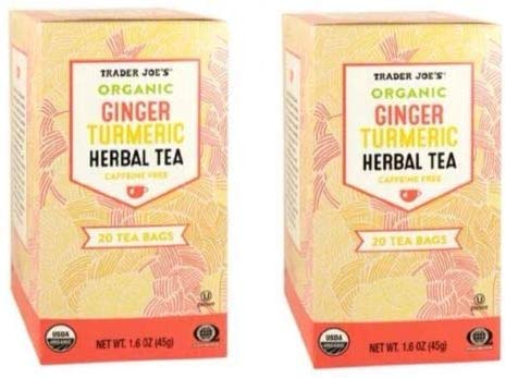 Trader Joes Organic Ginger Turmeric Herbal Tea 20 envelopes each - PACK OF 4