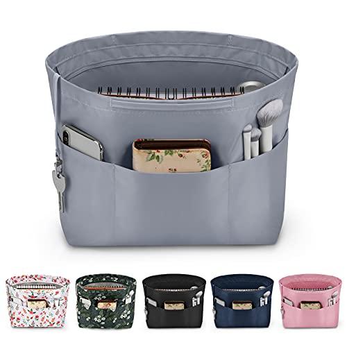 bridawn Nylon Tote Organizer Purse Insert Pocketbook Organizer Insert Handbag Divider with Handles Zipper Closure Gray