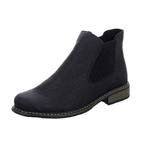 Rieker Damen Stiefeletten Z4994, Frauen Chelsea Boots, Women's Woman Freizeit leger Stiefel halbstiefel Bootie Damen,schwarz/schwarz,38 EU / 5 UK