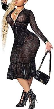Womens Sexy Rhinestone Mesh Sheer See Through Midi Bodycon Cocktail Dress Clubwear