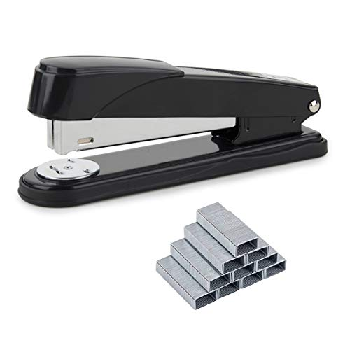 ACCOCO Heavy Duty Stapler with Box of 1,000 24 6mm Staples (50 Sheet Capacity) (Black)