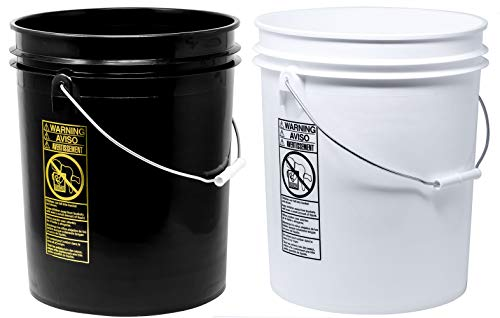 detailmate 2 Wash Buckets in 5 Gallonen - für das Zwei Eimer Waschprinzip - passend für Grit Guard Eimereinsatz, Grit Guard Washboard sowie Gamma Seal Lids (2 Eimer Wäsche)