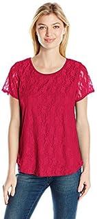 قميص Star Vixen نسائي قصير الأكمام من الدانتيل المرن فتحة خلفية ذيل قميص مبطن بالأعلى