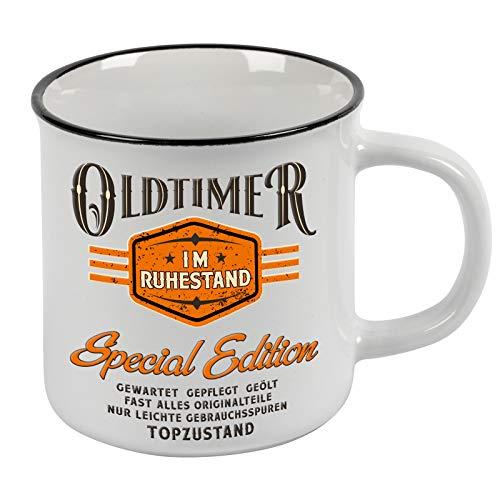 Lobo Negro Kaffeetasse als Geschenk für Rentner - Oldtimer im Ruhestand - Vintage Style im Geschenkkarton