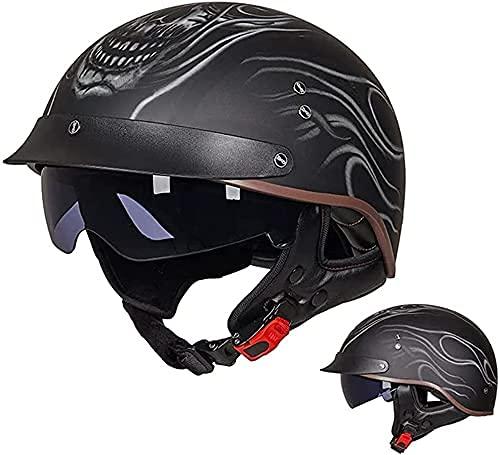 NZGMA Medio Casco de Motocicleta con Parasol para Hombres y Mujeres, Gorra Retro Unisex para Adultos aprobada por ECE para ciclomotor, Transpirable y Liviana