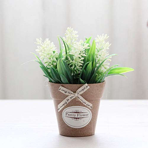 HYLZW Kunstmatige Bloem Plant Kleine Bonsai Kunstbloemen Nep Plant Thuis Decor Bureau Lavendel Bruiloft Simulatie Kunststof Tuin Kantoor Bloempot Bladeren