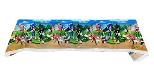 AMZPTBOY Sonic The Hedgehog Plastic Tablecloth Disposable Tablecover Sonic The Hedgehog Video Game Birthday Party Supplies Decorations for Kid Boy Baby Shower Rectangle Tables 1 Pack