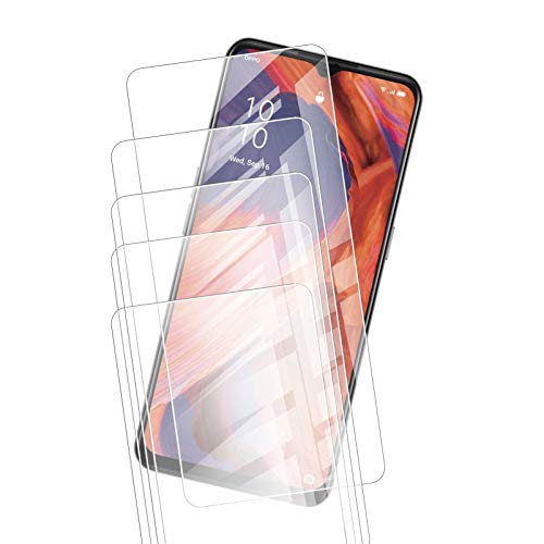 JIENI - Protector de pantalla de cristal templado transparente para Oppo K7X (6,5 pulgadas), [5 unidades] dureza 9H, muy duradero, antiarañazos, cristal templado ultra transparente