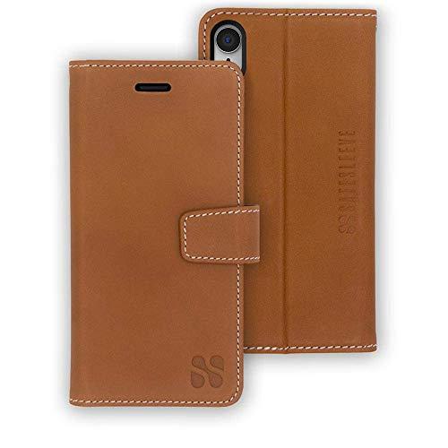 SafeSleeve EMF Protection Anti Radiation iPhone Case: iPhone XR RFID EMF Blocking Wallet Cell Phone Case (Leather)