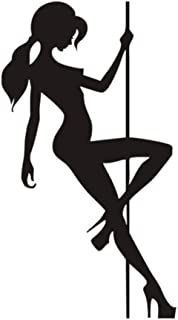 qzheng Beautiful Woman Pole Dancing Wall Stickers Bedroom Living Room Sofa Background Wall Decoration Mural DIY Wall Stickers 58Cmx105Cm