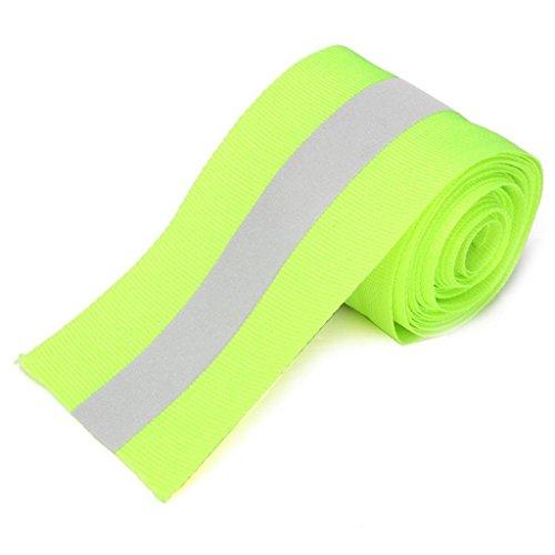 Riflettente Argento Nastro Sicurezza Striscia Cucito Su Tessuto Calce Synth Verde 3 Metri