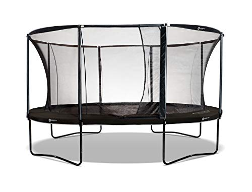 North Trampoline Pioneer 2020 | Outdoor garden trampoline | Round or oval | Internal safety net with tunnel entrance | Soft suspension, ideal for children | TÜV/GS approved (Round 360 cm, Black)