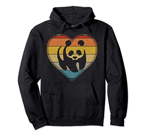 Style grunge coeur rétro amour panda Sweat à Capuche