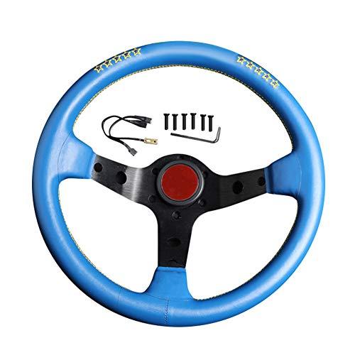 Hpory Volante deportivo para coche, 13 pulgadas, volante de carreras de piel auténtica, 6 bolt Rally Drift Race Kart volante con botón de bocina, volante Deep Dish, volante modificado, universal