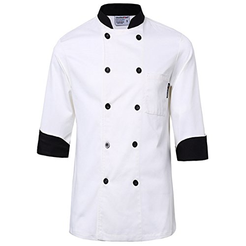 White chef uniforms unisex long and short sleeve coat catering jackets, US Size S (Tag L), White with Black