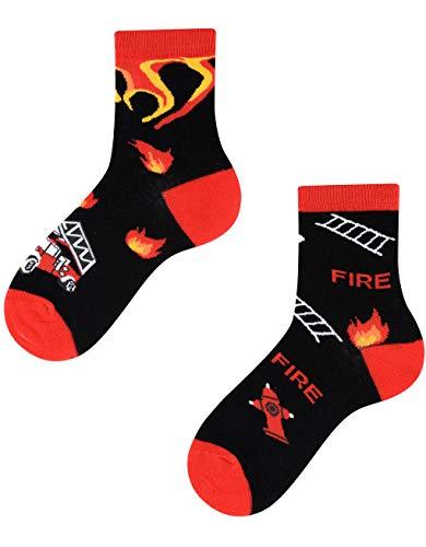 TODO Colours Feuerwehr Socken Kinder - On Fire Kids - motiv, bunte, lustige Feuerwehrmann-socken für Jungen und Mädchen (On Fire Kids, 27-30)