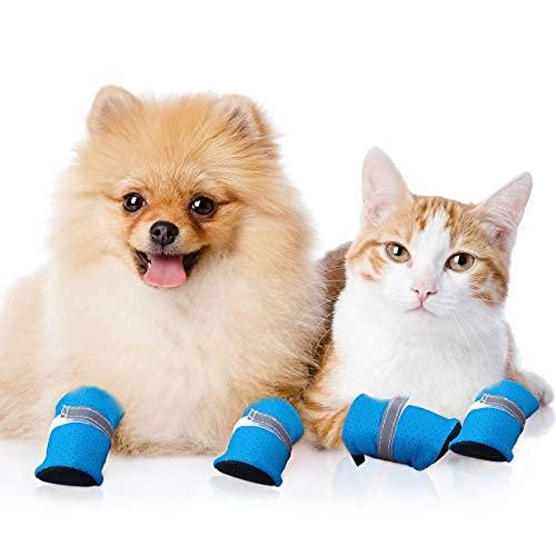 4 Pezzi Scarpe Estive per Cani Protezione di Zampe Scarpe Sandalo in Rete per Animali Domestici Stivali Antiscivolo per Cani con Fibbia Regolabile per Cani e Gatti di Taglia Piccola Media