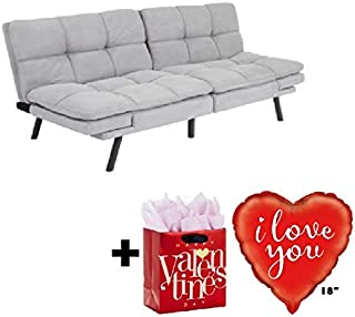 Mainstay Memory Foam Futon, Gray Suede with Valentine's Freebies I Love You Balloon..