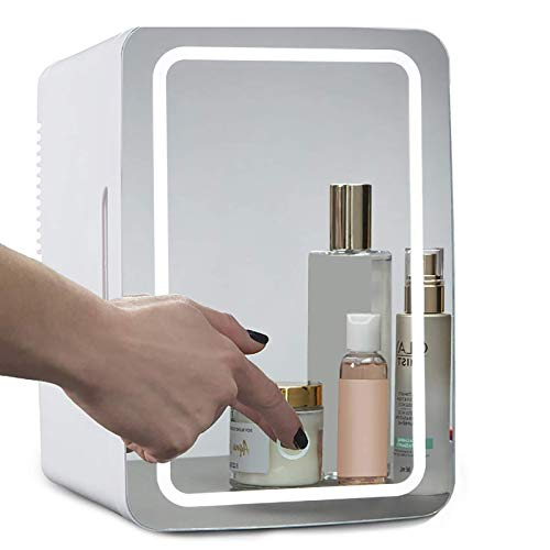Mini Makeup Beauty Fridge, 8L Portable Cosmetic Refrigerator, Makeup Mirror with LED Light, Compact & Quiet, Cooler/Warmer Freezer, Used for Beauty Skin Care in Home/Car, Gift For Women And Girls