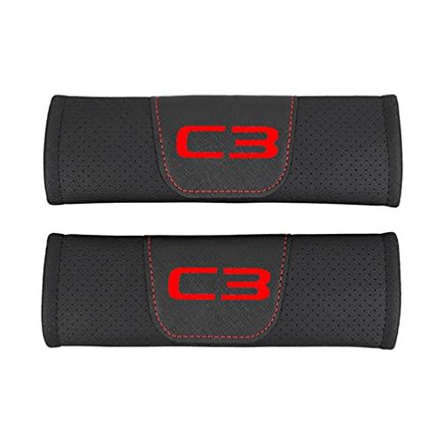Almohadillas Para CinturóN Seguridad AutomóVil Almohadillas Confort,Para Citroen C3 AutomóVil Cuero PU Moda Seguridad Cubierta CinturóN Seguridad Cinturones Seguridad Hombreras AutomóVil 2 Piezas