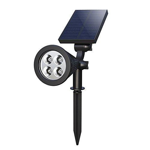 Foco Suelo Solar 4 LED Pincho Jardín Luz Alumbrado Ajustable Exterior Impermeable...