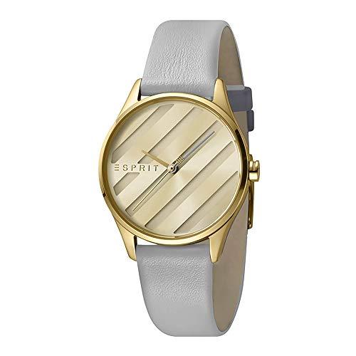 Esprit - E.ASY Gold Champagne - Armbanduhr - Damenuhr - Edelstahl - goldfarben - Lederarmband Grau