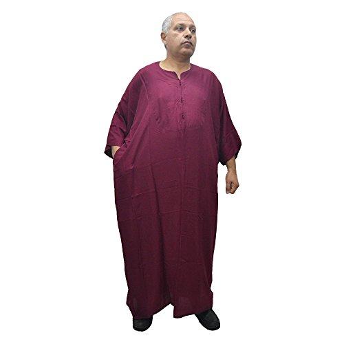 Chilaba, Djelaba, Galabeya, Baumwolle Kandora, marokkanisch, eine Größe für alle und sogar sehr dicke Menschen, misst 90 cm breit und 150 cm lang. Es schrumpft nicht (Granat)