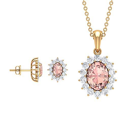 Juego de pendientes y collar de morganita de 3,78 quilates, de corte ovalado de morganita creado en laboratorio, pendientes de halo de diamantes, colgante de gota de oro (calidad AAAA)