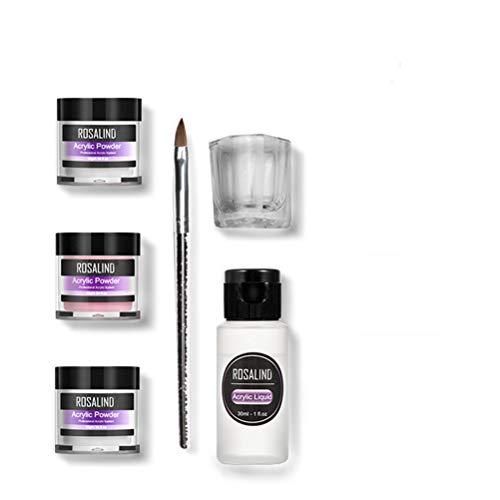 ALBEFY 6 stks professionele nagelverlenging/nagelsnij-set, acryl poeder, 3 kleuren nagelkristalpoeder, acrylvloeistof, geschikt voor professioneel en thuisgebruik Verschillende kleuren