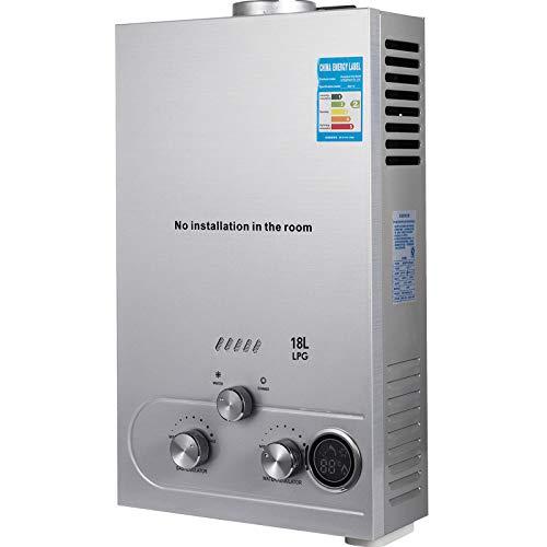 VEVOR Calentador de Agua a Gas LPG, Ahorro de Energia 40% Calentador de Agua Instantaneo, 36 kW Ajustable LED Calentador de Agua con Filtro de Agua y Regulador de Gas Facil para Uso Exterior (18L)