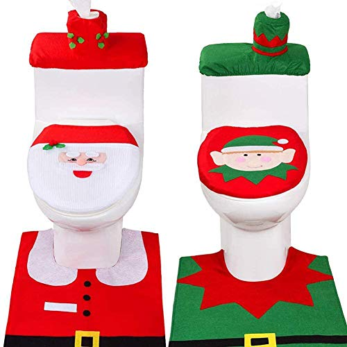 6 Pieces Christmas Toilet Seat Cover Decorations,3D Nose Christmas Santa Elf Toilet Seat Cover Set Christmas Bathroom Decor Xmas Home Indoor Decor