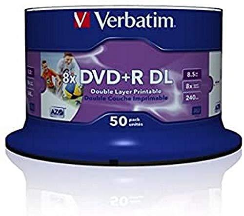 Verbatim DVD+R Double Layer Wide Inkjet Printable 8.5GB I 50er Pack Spindel I DVD Rohlinge bedruckbar I 8-fache Brenngeschwindigkeit & Hardcoat Scratch Guard I DVD-R printable I DVD leer