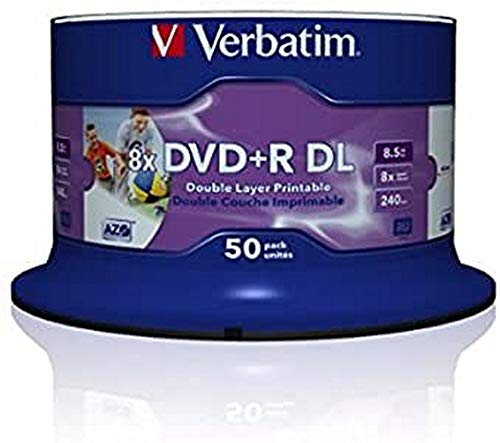 DVD+R Double Layer 8.5 GB printable, confezione da 50 pezzi