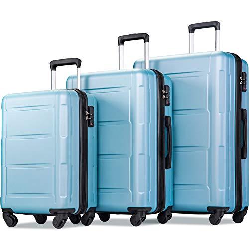"Merax Luggage Sets 3 Pcs Spinner Suitcase Hardshell Lightweight 20""24""28"" (3 Pcs Set-Light Blue)"
