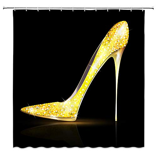 AMFD High Heel Duschvorhang Glänzend Diamant Kristall Schuhe Mode Mädchen Einfach Schwarz Gold Badezimmer Gardinen Dekor Polyester Stoff Wasserdicht 178 x 178 cm Inklusive Haken