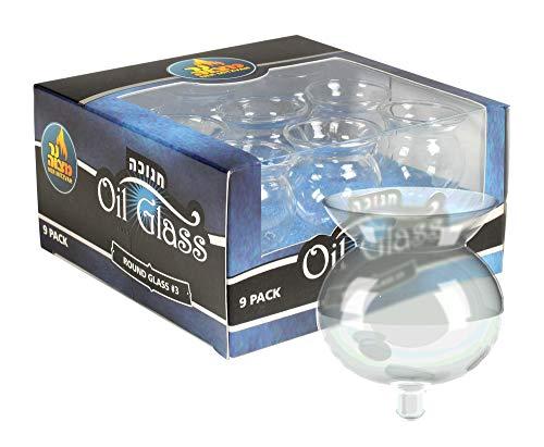 Ner Mitzvah Hanukkah Menorah Glass Oil Cups – Elegant Holders for Oil for Shabbos and Chanukah – Durable Quality, Long-Lasting - (9-Pack)