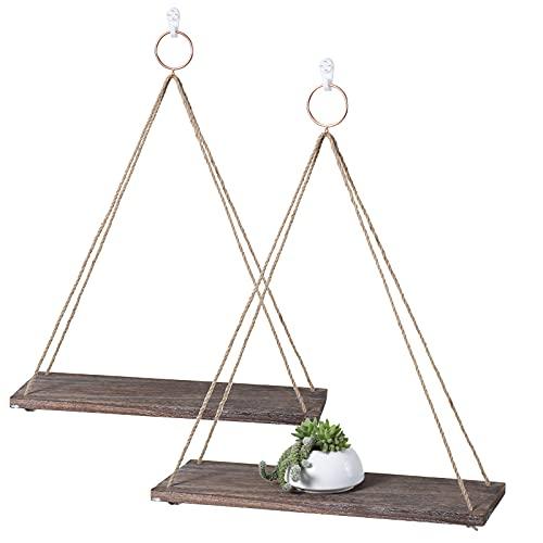 Rustic Shelf 2 Packs Wooden Floating Shelves with String Rope Hanging Floating Shelves Kitchen Living Room Bedroom Office Bathroom Balcony Display Shelves