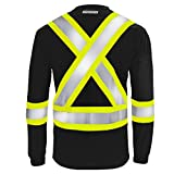 JORESTECH Safety T Shirt Reflective X in Back High Visibility Long Sleeve Black ANSI Class 1 Type O CSA Class 1 Level 2 TS-15 (Colors Available) (XL)
