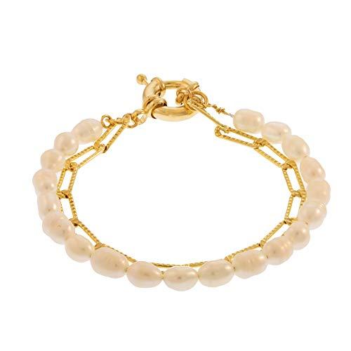 Córdoba Jewels | Pulsera en Plata de Ley 925 bañada en Oro con diseño Cadena Perla Gold