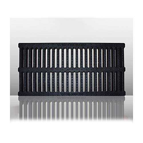 GZHENH Desagüe De Piso De Ducha Lineal Rectangular, Aplicar para Baño Fregadero Filtro De Drenaje De Piso Fuerte Capacidad De Carga, 10 Tamaños (Color : Black, Size : 500x200x30mm)
