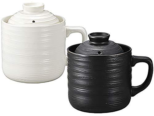 かんたん 炊飯器 1合炊き 陶器製 電子レンジでチンするだけ そのまま食卓に出せるから手間いらず ご飯をちょっと食べたい時や一人暮らし などに (ブラック)