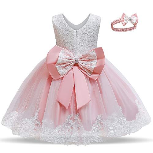 TTYAOVO Vestido de Fiesta de Encaje de Dama de Honor de la Boda de la Princesa de Las Niñas Tamaño(80) 6-12 Meses 06 Rosa