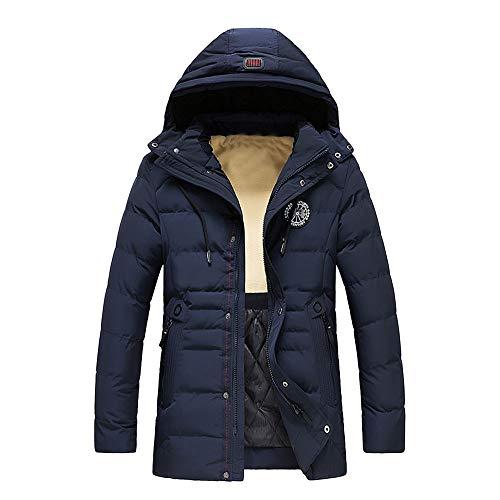 Herrenjacke Windjacke Freizeitjacke Sport Parka Herren modelle GroßE Mit Kapuze GefüTterte Manteljacke Men'S Winter Warm Hoodie Zipped Thick Solid Fleece Coat Cotton-Padded Jacket(Dunkelblau,XXL)