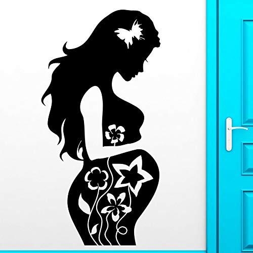 Pegatinas de pared mamá parto niño bebé maternidad habitación del bebé decoración interior del hogar vinilo tatuajes de pared arte mariposa flor mural